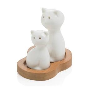 Solniczka i pieprzniczka na drewnianej podkładce Brandani Cat
