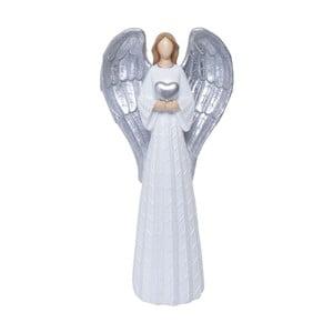 Dekoracyjna figurka anioła w białej i srebrnej barwie Ewax Angelito, wys.54,2cm