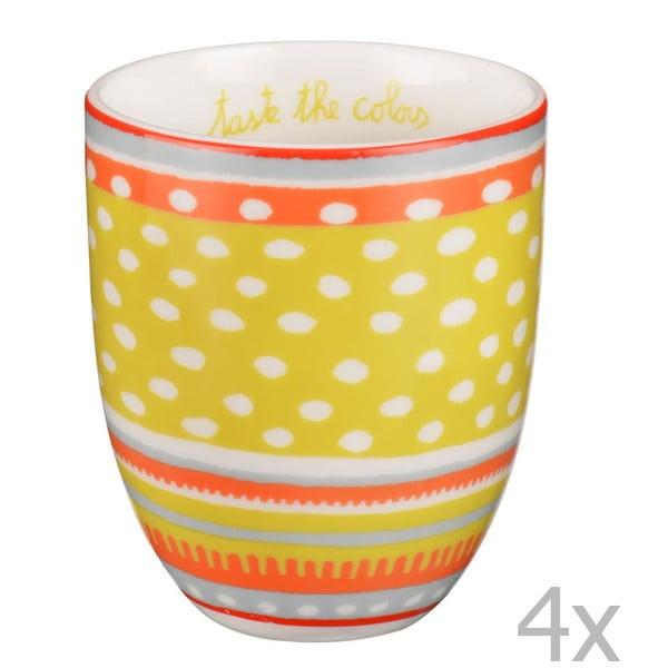 Komplet 4 porcelanowych filiżanek Oilily 200 ml, żółty