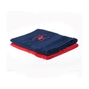 Zestaw granatowego i czerwonego ręcznika Beverly Hills Polo Club Tommy Orj, 50x100cm