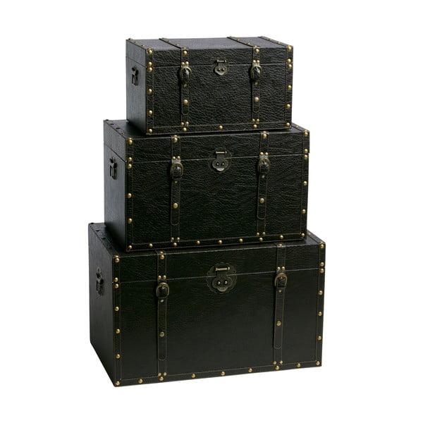 Komplet 3 drewnianych skrzyń Suitcases