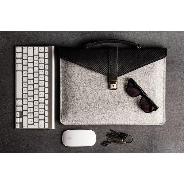 Skórzana torba na laptop Éstie, jasnoszara