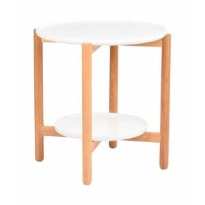 Biały stolik dębowy Folke Wendigo, ⌀ 55 cm