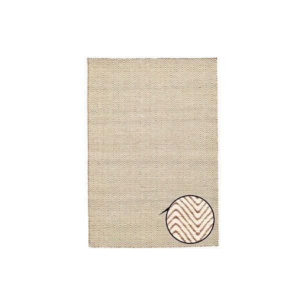 Dywan ręcznie tkany Brown and White Kilim, 155x215 cm