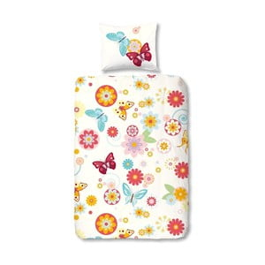 Dziecięca pościel jednoosobowa z bawełny Muller Textiels Premento Flower Butterfly, 140x200 cm