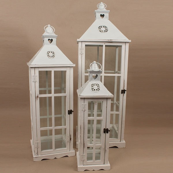 Zestaw 3 lampionów Dakls Vintage White