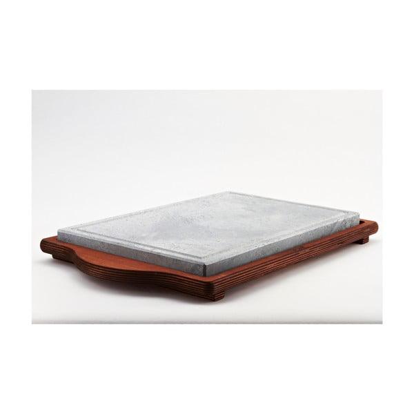 Taca do serwowania z kamienną deską Bisetti Stone Plate, 25x40 cm