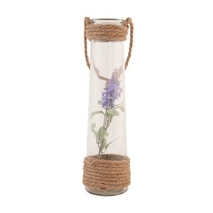 Szklany wazon ze sztucznym kwiatem Clayre, 35 cm