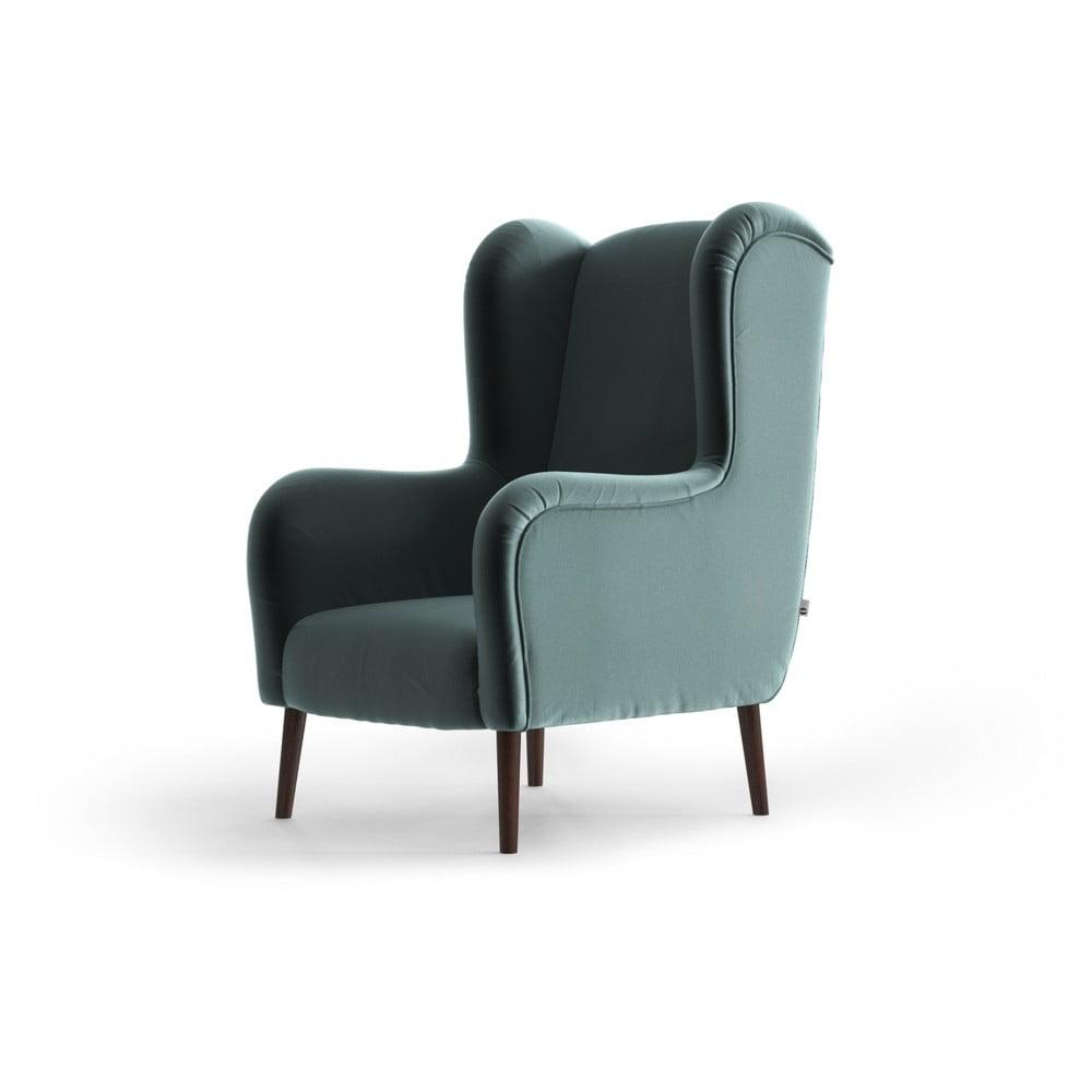 Jasnoniebieski aksamitny fotel uszak My Pop Design Muette