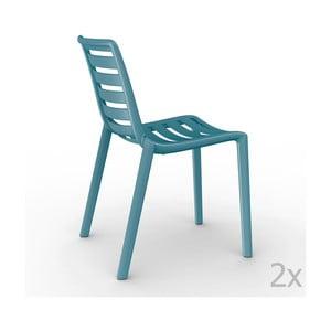 Zestaw 2 niebieskich krzeseł ogrodowych Resol Slatkat