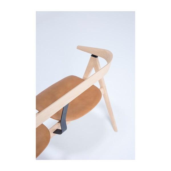 Ławka z drewna dębowego ze skórzanym siedziskiem Gazzda Ava