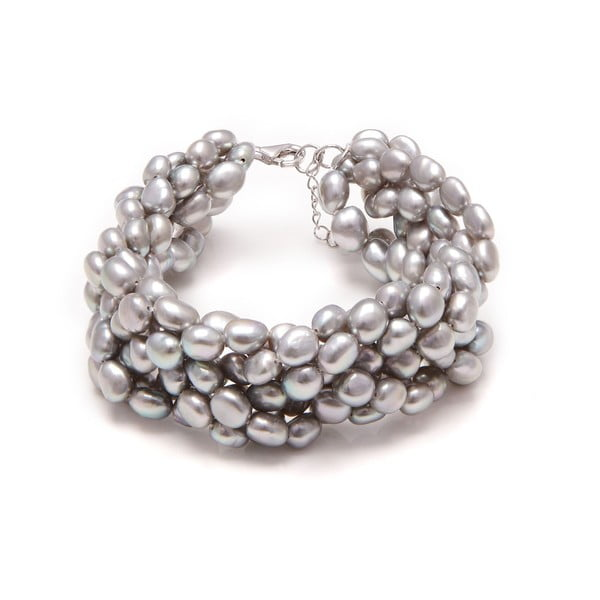 Srebrna bransoletka z pereł słodkowodnych Feshwater