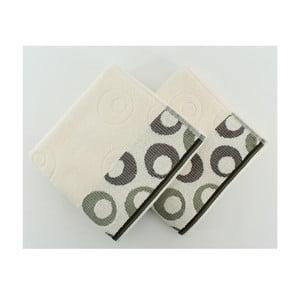 Komplet 2 ręczników Arion Cream, Green, 50x90 cm