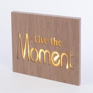 Obraz ze świecącym napisem Live The Moment, 42x24 cm