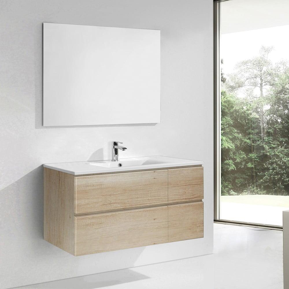 Szafka Do łazienki Z Umywalką I Lustrem Capri Motyw Drewna 120 Cm Bonami