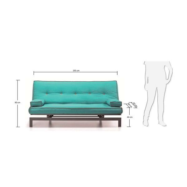 Sofa rozkładana Gio, turkusowa z ciemnoszarą konstrukcją
