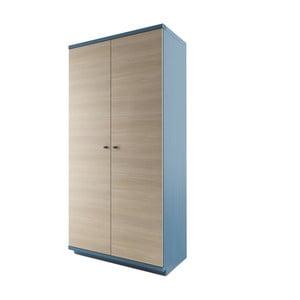 Niebieskie szafa 2-drzwiowa z litego drewna dębowego JELÍNEK Amanta