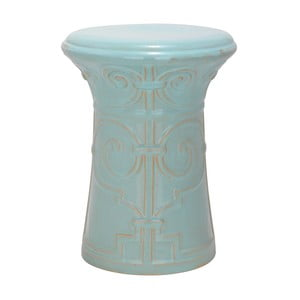 Turkusowy stolik porcelanowy Safavieh Imperial Scroll Light Aqua