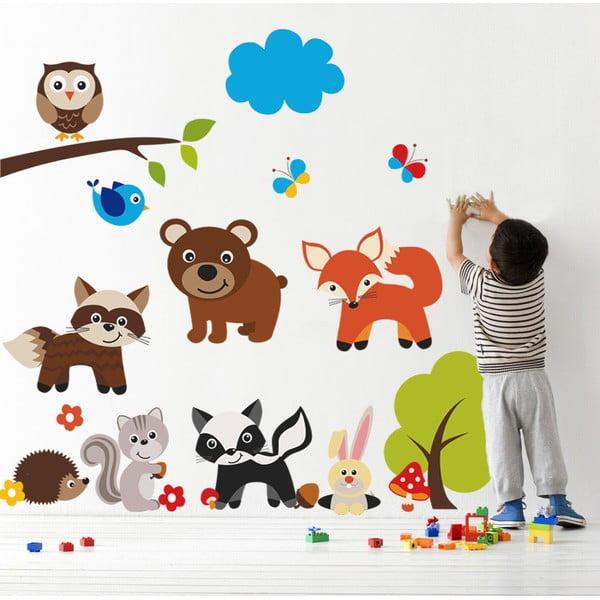 Naklejka ścienna Niedźwiedź i zwierzęta, 90x60 cm