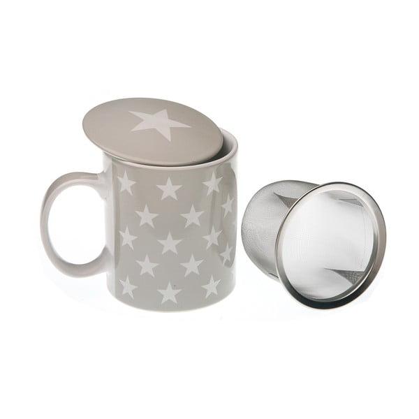 Kubek na herbatę z sitkiem Grey&White Stars