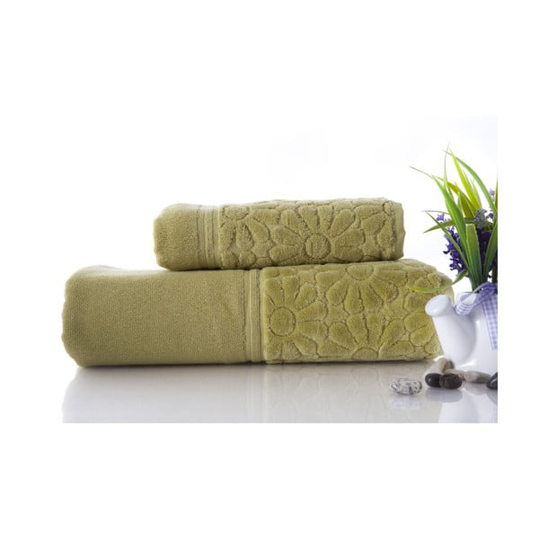 Zestaw 2 ręczników Samba Green, 70x140 i 50x90 cm