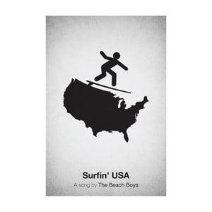 Plakat Surfin' USA, 29,7x42 cm, limitowana edycja