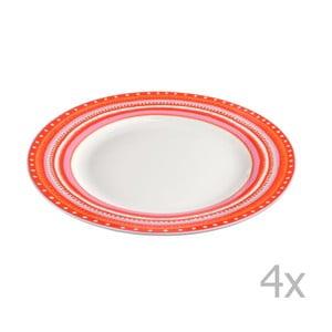 Komplet 4 talerzyków porcelanowych Oilily 22 cm, czerwony