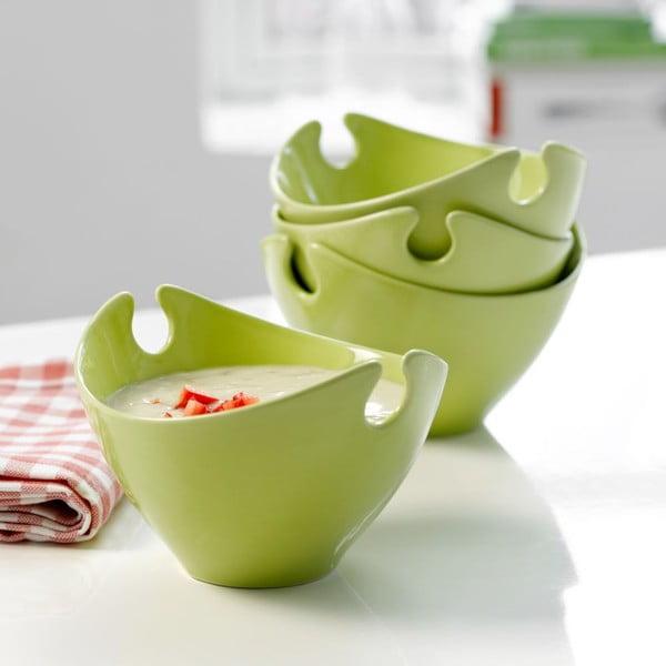 Zestaw 4 misek porcelanowych Steel Function Milano Green