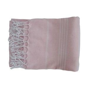 Różowy ręcznie tkany ręcznik z bawełny premium Sultan,100x180 cm