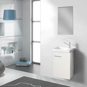 Szafka do łazienki z umywalką i lustrem Kai, odcień bieli, 40 cm