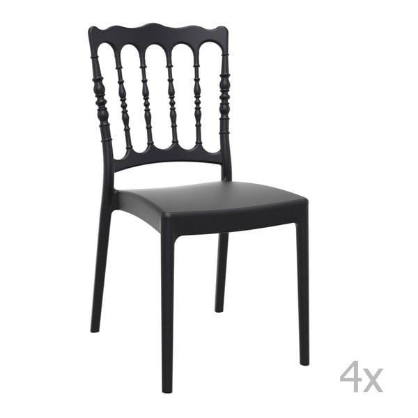 Zestaw 4 czarnych krzeseł ogrodowych Resol Napoleon