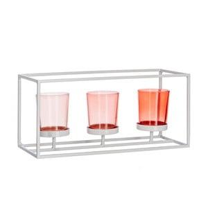 Komplet 3 szklanych świeczników z podstawką J-Line Coral Warm Mix