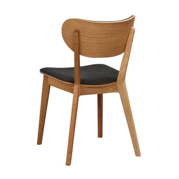 Brązowe dębowe krzesło do jadalni z grafitowym siedziskiem Rowico Cato