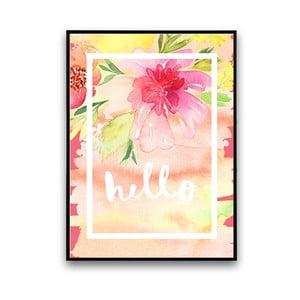 Plakat z różowymi kwiatami Hello, 30 x 40 cm