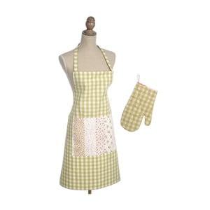 Zestaw fartucha z rękawicą kuchenną Vichy, zielony/biały