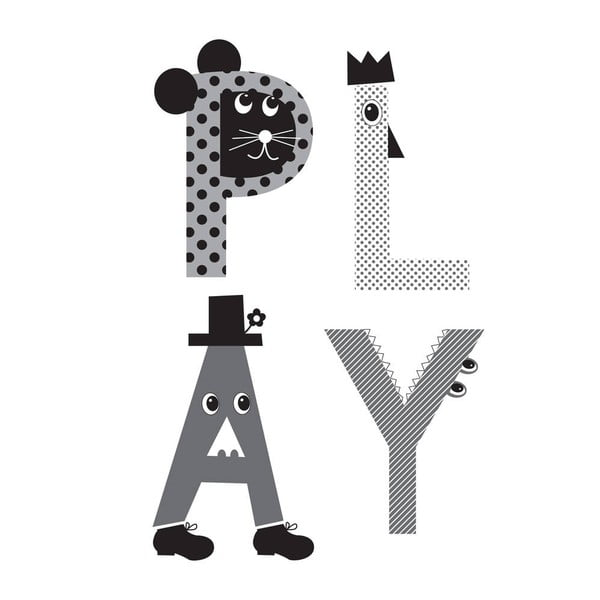 Plakat Play Grey, 30x40 cm