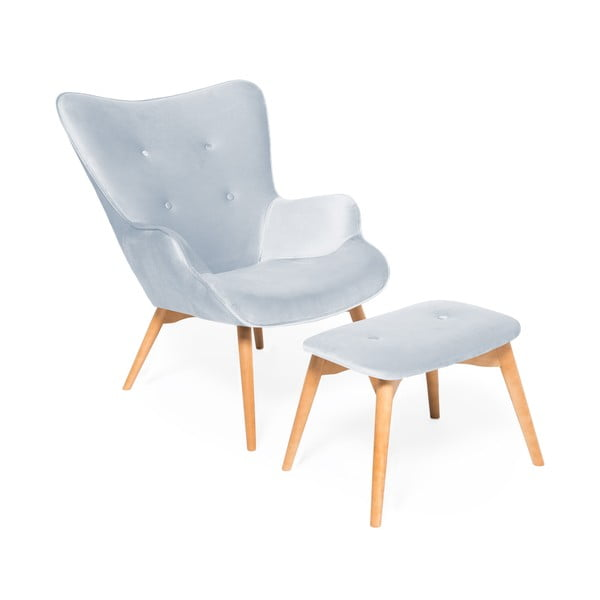 Niebieskoszary fotel z podnóżkiem i nogami w naturalnej barwie Vivonita Cora Velvet