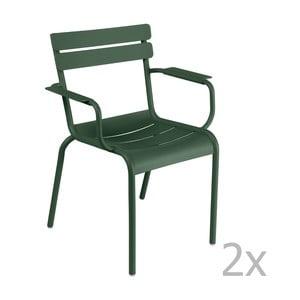 Zestaw 2 zielonych krzeseł z podłokietnikami Fermob Luxembourg