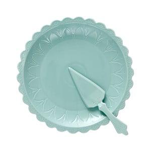 Zestaw turkusowego talerza na tort i łopatki Ladelle Bake
