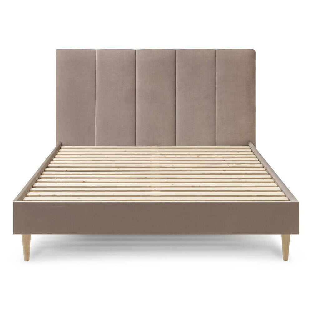 Beżowe aksamitne łóżko dwuosobowe Bobochic Paris Vivara Light,160x200cm