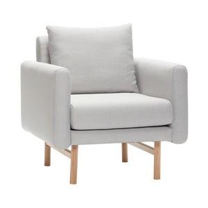 Jasnoszary fotel z nogami z drewna dębowego Hübsch Gjerta