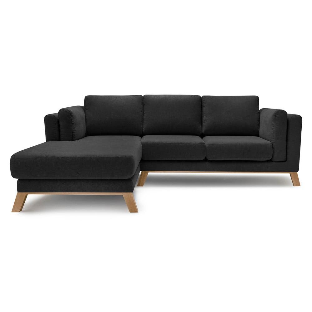 Czarna sofa z szezlongiem po lewej stronie Bobochic Paris Seattle