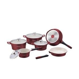 10-częściowy ceramiczny komplet garnków i patelni Die Cast, bordowy