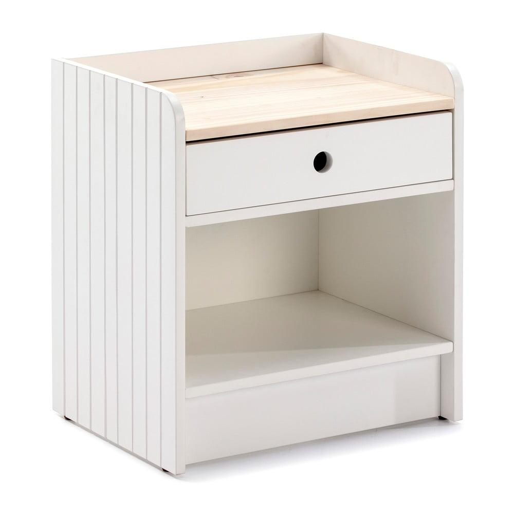 Biała szafka nocna z blatem z drewna sosnowego Marckeric Monte