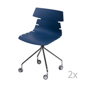 Zestaw 2 niebieskich krzeseł D2 Techno Roll