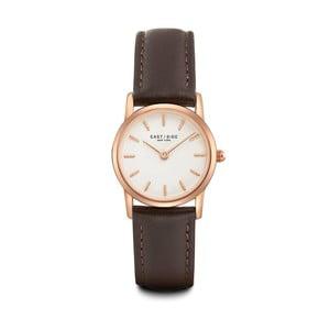 Zegarek damski z brązowym skórzanym paskiem i cyferblatem w kolorze różowego złota Eastside Elridge