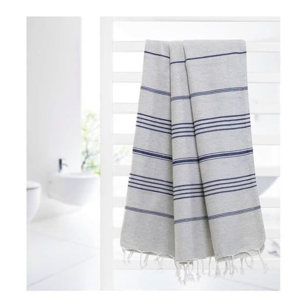 Ręcznik hammam Cross Grey Blue, 95x175 cm