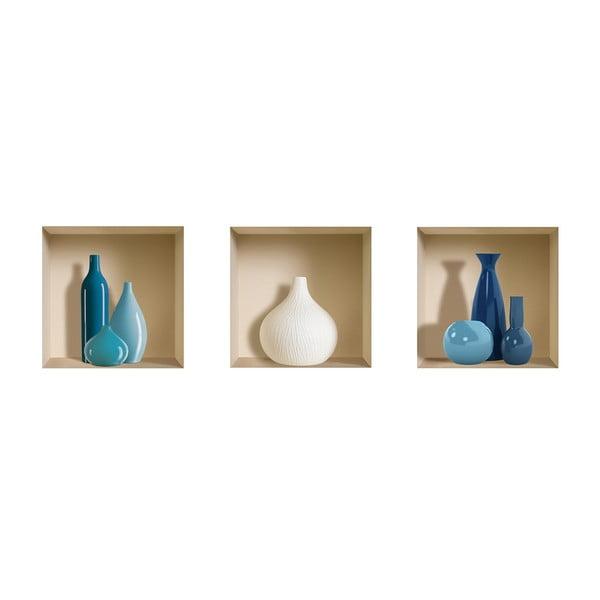 Naklejki na ścianę 3D Pots Bleu