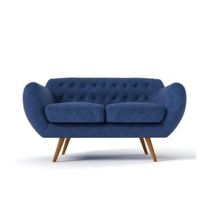 Dwuosobowa sofa Indigo, granatowa z błękitnymi guzikami