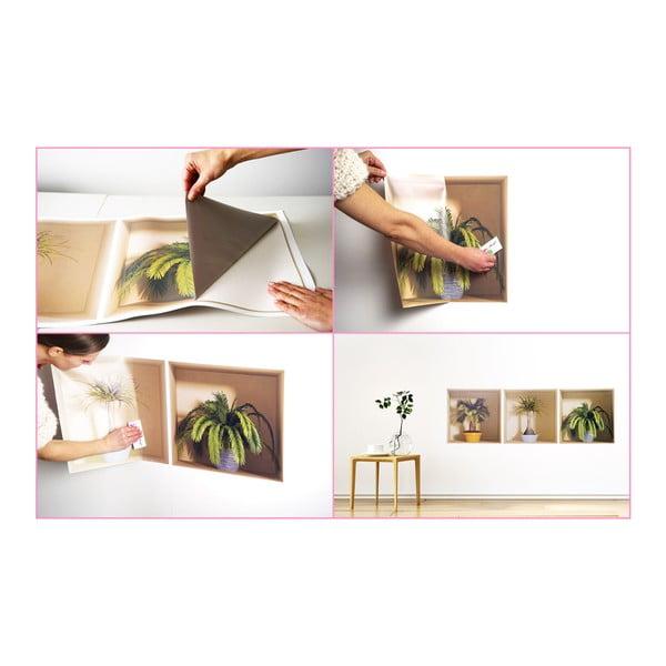 Zestaw 3 naklejek ściennych 3D Ambiance Flower